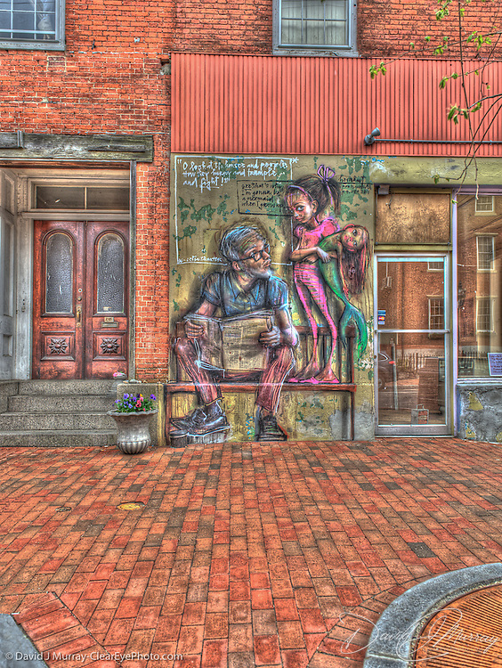 """Front panel of """"Mermaid"""" by street art duo Herakut, on State St. in downtown Portsmouth, NH"""