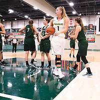 5th year forward Charlotte Kot (1) of the Regina Cougars during the Women's Basketball pre-season game on October 14 at Centre for Kinesiology, Health and Sport. Credit: Arthur Ward/Arthur Images