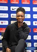 Tianna Bartoletta (USA) during a news conference at the Intercontinental Doha Hotel-The City, Thursday, May 2, 2019, in Doha, Qatar prior to the 2019 IAAF Diamond League Doha meeting. (Jiro Mochizuki/Image of Sport)