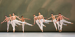 "© Licensed to London News Pictures. 09/03/2015. London, England. Pictured: Spring and Fall, choreography by John Neumeier. Dress rehearsal of the triple bill ""Modern Masters"" performed by dancers from the English National Ballet at Sadler's Wells. Performances from 10 to 15 March 2015. Photo credit: Bettina Strenske/LNP"