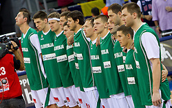 Team of Slovenia during to the Preliminary Round - Group B basketball match between National teams of USA and Slovenia at 2010 FIBA World Championships on August 29, 2010 at Abdi Ipekci Arena in Istanbul, Turkey.  (Photo by Vid Ponikvar / Sportida)