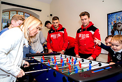 Jamie Paterson and Luke Freeman of Bristol City play table football during Bristol City's visit to the Children's Hospice South West at Charlton Farm - Mandatory by-line: Robbie Stephenson/JMP - 21/12/2016 - FOOTBALL - Children's Hospice South West - Bristol , England - Bristol City Children's Hospice Visit