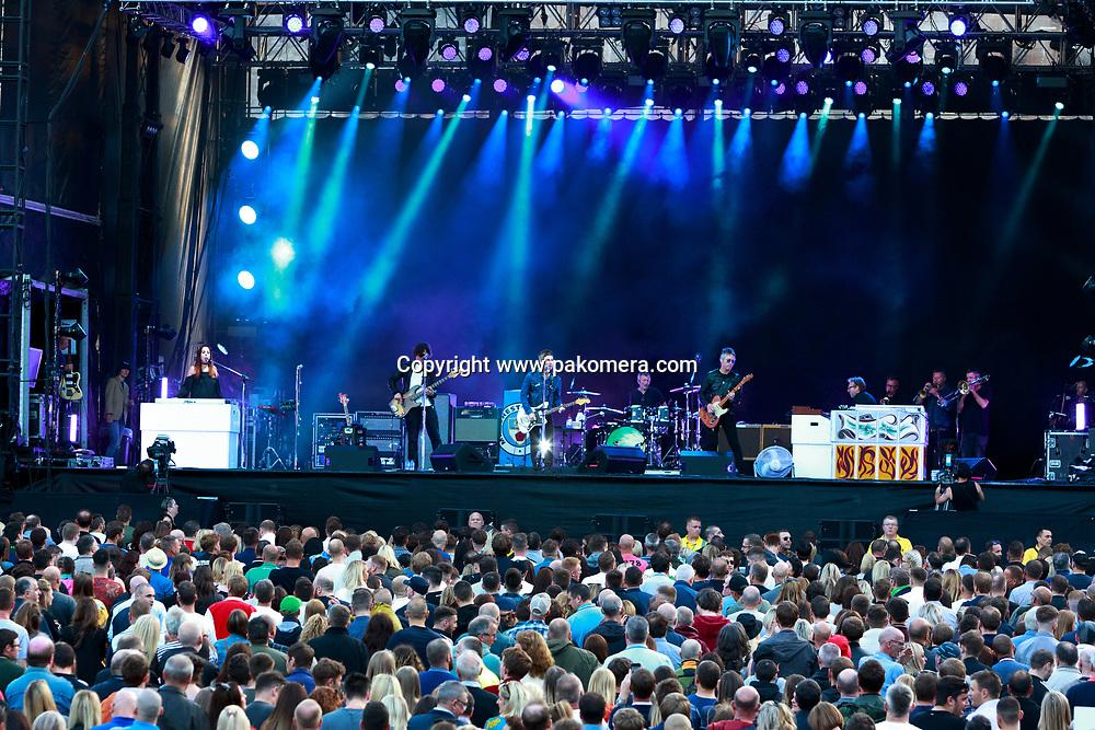 Edinburgh, Scotland. UK. 19 July. Noel Gallagher's High Flying Birds perform on stage in the Edinburgh Castle's Esplanade on 19 July 2018. Photo: Pako Mera/Alamy Live News.