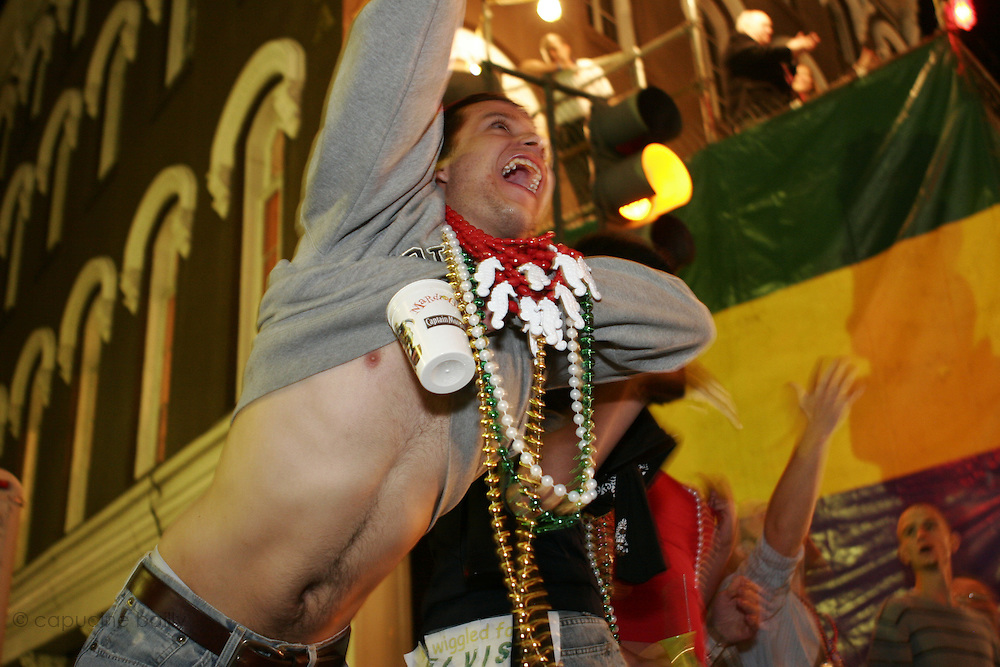 February 27th 2006. New Orleans, Louisiana. United States..People celebrate Mardi Gras in the French Quarter.