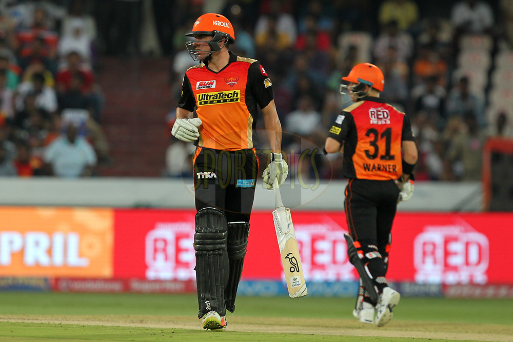 Moises Henriques and David Warner captain of Sunrisers Hyderabad during match 6 of the Vivo 2017 Indian Premier League between the Sunrisers Hyderabad and the Gujarat Lions held at the Rajiv Gandhi International Cricket Stadium in Hyderabad, India on the 9th April 2017Photo by Prashant Bhoot - IPL - Sportzpics