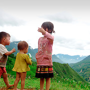 Children playing at the mountains of North Vietnam