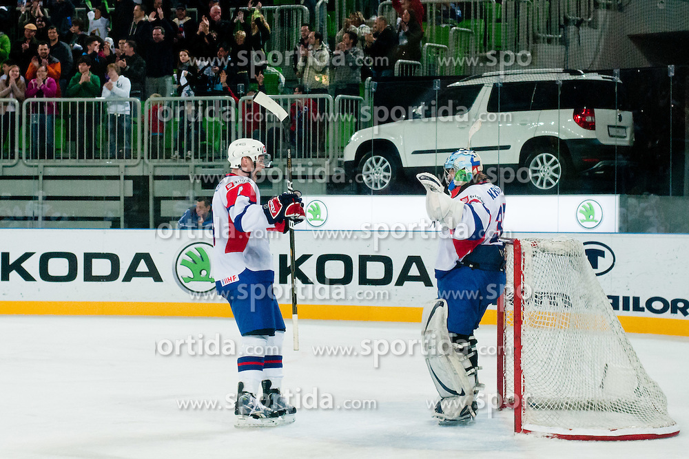 Robert Kristan of Slovenia and Andrej Tavzelj of Slovenia celebrates victory 3:2 during ice-hockey match between Slovenia and Ukraine at IIHF World Championship DIV. I Group A Slovenia 2012, on April 19, 2012 at SRC Stozice, Ljubljana, Slovenia. (Photo By Matic Klansek Velej / Sportida.com)