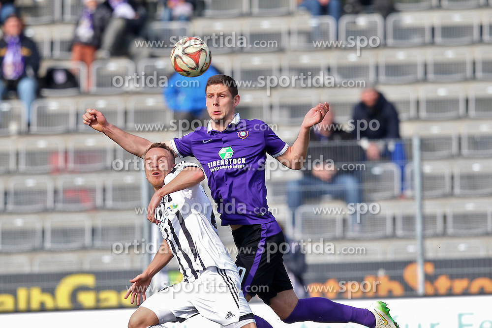 15.03.2015, Esprit-Arena, Aalen, GER, 2. FBL, VfR Aalen vs FC Erzgebirge Aue, 25. Runde, im Bild Arne Feick (VfR Aalen) rechts Stipe Vucur ( FC Erzgebirge Aue ) // during the 2nd German Bundesliga 25th round match between VfR Aalen and FC Erzgebirge Aue at the Esprit-Arena in Aalen, Germany on 2015/03/15. EXPA Pictures &copy; 2015, PhotoCredit: EXPA/ Eibner-Pressefoto/ Langer<br /> <br /> *****ATTENTION - OUT of GER*****