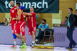 Players of KK Tajfun Sentjur during basketball match between KK Krka Novo mesto and KK Tajfun Sentjur at Superpokal 2015, on September 26, 2015 in SKofja Loka, Poden Sports hall, Slovenia. Photo by Grega Valancic / Sportida.com