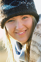 Portrait of model, Carly Jefferson-Dow at Goldens Gardens Park on a sunny but cold Winter day.