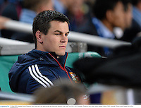 15 June 2013; Jonathan Sexton, British & Irish Lions, sits on the bench during the second half. British & Irish Lions Tour 2013, NSW Waratahs v British & Irish Lions, Allianz Stadium, Sydney, NSW, Australia. Picture credit: Stephen McCarthy / SPORTSFILE
