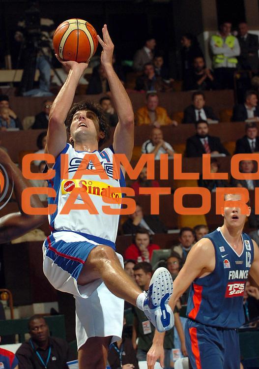 DESCRIZIONE : Novi Sad Eurobasket Men 2005 Francia-Serbia &amp; Montenegro<br /> GIOCATORE : Bodiroga<br /> SQUADRA : Serbia &amp; Montenegro<br /> EVENTO : Eurobasket Men 2005 Campionati Europei Uomini 2005<br /> GARA : Francia France Serbia &amp; Montenegro<br /> DATA : 20/09/2005<br /> CATEGORIA :<br /> SPORT : Pallacanestro<br /> AUTORE : Ciamillo&amp;Castoria/Fiba Europe Pool