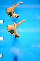 London, England, 12-02-25. Tania CAGNOTTO and Francesca DALLAPE (ITA) competing in the women's synchronised 3m spring board at the 18th FINA Visa World Cup Diving, Olympic Aquatics Centre. Part of the London Prepares Olympic preparations.