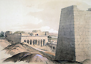 The Temple of Edfu', 1855.; lithograph after watercolour by Lord Wharncliffe c1855. Egypt