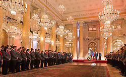 29.01.2014, Hofburg, Wien, AUT, Sochi 2014, Vereidigung OeOC, im Bild ÖOC- Präsident Karl Stoss, Präsident Heinz Fischer und Verteidigungsminister Gerhard Klug mit den Athleten // ÖOC President Karl Stoss, President Heinz Fischer and Defense Minister Gerhard Klug speaks to the Athletes during the swearing-in of the Austrian National Olympic Committee for Sochi 2014 at the  Hofburg in Vienna, Austria on 2014/01/29. EXPA Pictures © 2014, PhotoCredit: EXPA/ JFK
