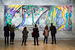 © Licensed to London News Pictures. 25/04/2017. London, UK. Visitors view Turner prize-winning artist CHRIS OFILI new tapestry titled The Caged Bird's Song.  The tapestry is part of the Weaving Magic exhibition showing at the National Gallery. Photo credit: Ray Tang/LNP