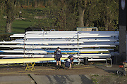 London, Great Britain,   crew checking their boat before the 2009Veterans Fours of the River Race, raced over the Championship Course, Mortlake to Putney, on the River Thames.   Sunday, 15/11/2008. [Mandatory Credit: Peter Spurrier/Intersport Images]