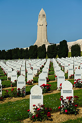 The graves of Muslim soldiers at the French Military Cemetary at Douaumont, Verdun, France.  The ossuary  containing the remains of soldiers who died on the battlefield during the Battle of Verdun in World War I can be seen in the background.<br /> <br /> (c) Andrew Wilson   Edinburgh Elite media