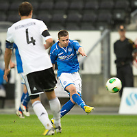 Rosenborg v St Johnstone....18.07.13  UEFA Europa League Qualifier.<br /> Gwion Edwards shot goes just over the bar<br /> Picture by Graeme Hart.<br /> Copyright Perthshire Picture Agency<br /> Tel: 01738 623350  Mobile: 07990 594431