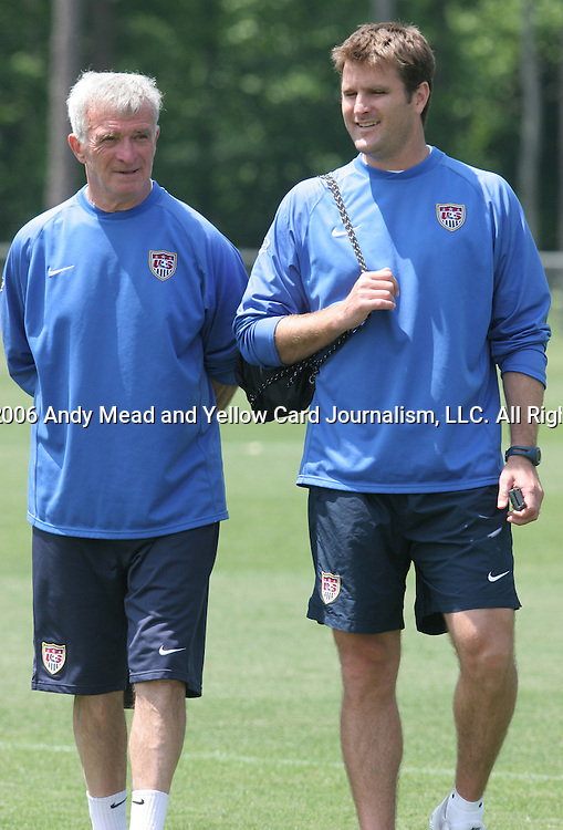 Goalkeeping coach Milutin Soskic (l) and assistant coach Curt Onalfo (r) on Wednesday, May 17th, 2006 at SAS Soccer Park in Cary, North Carolina. The United States Men's National Soccer Team held a training session as part of their preparations for the upcoming 2006 FIFA World Cup Finals being held in Germany.