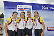 Munich, GERMANY, GBR W4X,  bow. Annie VERNON, Beth RODFORD, Annabel WATKINS [BEBINGTON] and katherine GRAINGER. silver medalist  women's quadruple sculls.  2010 FISA World Cup. Munich Olympic Rowing Course, Sunday  20/06/2010   [Mandatory Credit Peter Spurrier/ Intersport Images]