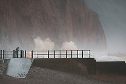 © Licensed to London News Pictures. 27/01/2016. Sidmouth, UK.  Waves batter the seafront at Sidmouth as the tail end of storm Jonas hits the UK. Photo credit: Peter Macdiarmid/LNP