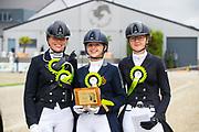 Prijsuitreiking Amber van den Steen, Charlotte Richmond, Emma Driesen<br /> Flanders Dressage Event 2018<br /> © DigiShots