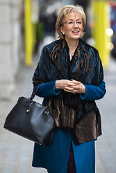 © Licensed to London News Pictures. 27/03/2019. London, UK. Leader of the House of Commons Andrea Leadsom in Westminster. MPs will hold a series of indicative votes on different Brexit options this evening. Photo credit: Rob Pinney/LNP