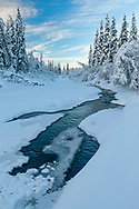 Open water on side stream of Eagle River in Southcentral Alaska. Winter. Morning.