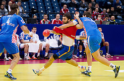 Joan Canellas of Spain vs  Jakov Gojun of Croatia during handball match between Croatia and Spain for 3rd place game at 10th EHF European Handball Championship Serbia 2012, on January 29, 2012 in Beogradska Arena, Belgrade, Serbia.  (Photo By Vid Ponikvar / Sportida.com)