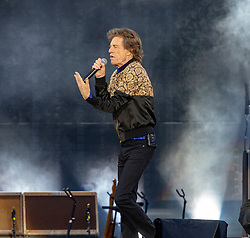 Mick Jagger, lead singer of The Rolling Stones performs on stage at Murrayfield Stadium in Edinburgh, Scotland.