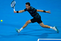 DOHA, Jan. 6, 2019  SP)QATAR-DOHA-TENNIS-QATAR OPEN.    Roberto Bautista Agut of Spain returns the ball.    during the final match against Tomas Berdych of Czech Republic at the ATP Qatar Open tennis tournament in Doha, capital of Qatar, Jan. 5, 2019. Roberto Bautista Agut claimed the title by defeating Tomas Berdych with 2-1. (Credit Image: © Yangyuanyong/Xinhua via ZUMA Wire)