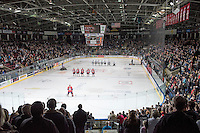 KELOWNA, CANADA - FEBRUARY 27: The Kelowna Rockets stand on the ice with the Spokane Chiefs during the national anthems on February 27, 2016 at Prospera Place in Kelowna, British Columbia, Canada.  (Photo by Marissa Baecker/Shoot the Breeze)  *** Local Caption *** anthem; crowd; arena;