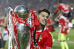 May 13, 2017 - Lisbon, Portugal - Benfica's forward Pizzi holds the cup after winning their 36th title at the end of the Portuguese league football match SL Benfica vs Vitoria Guimaraes SC at the Luz stadium in Lisbon on May 13, 2017. (Credit Image: © Carlos Palma/NurPhoto via ZUMA Press)