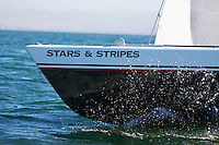 Stars and stripes sailboat on ocean