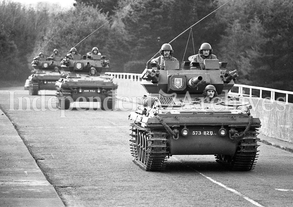 Irish Army Ranger Wing Training Drill, Securing a Bridgehead at Blessington, at the Curragh, 23/10/1984 (Part of the Independent Newspapers Ireland/NLI Collection).