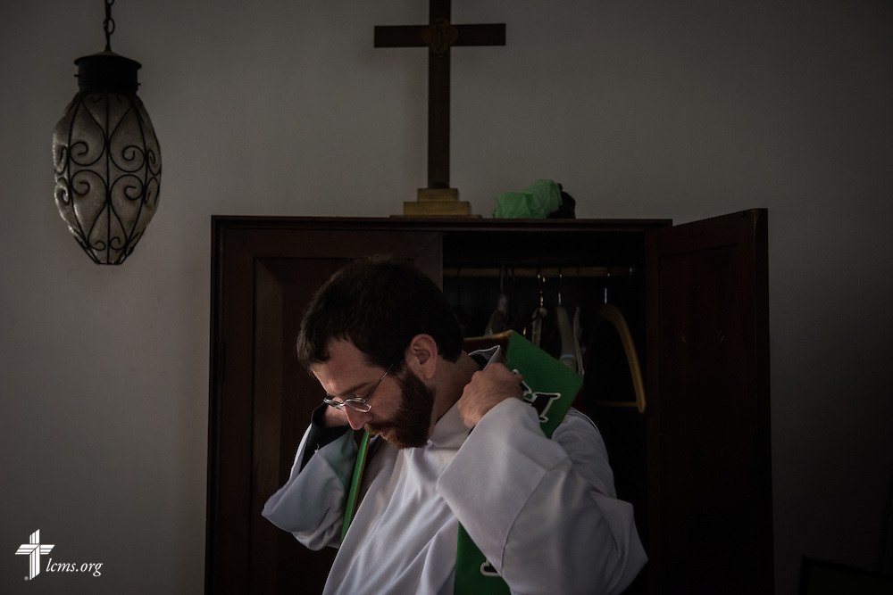 The Rev. Andrew Schlund, LCMS missionary to Mexico, prepares for worship at the Lutheran Church of The Good Shepherd on Sunday, Jan. 15, 2017, in Mexico City. LCMS Communications/Erik M. Lunsford