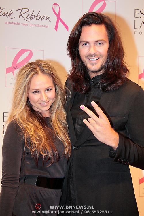 NLD/Amsterdam/20110929 - Inloop Estee Lauder Pink Ribbon Award Gala 2011 in de Beurs van Berlage, Thijs Willekes en .....