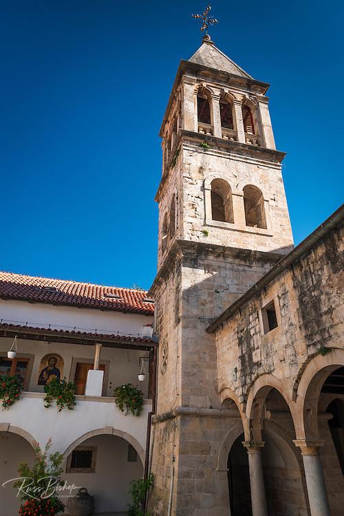 The abbey bell tower and courtyard, Krka Monastery, Krka National Park, Dalmatia, Croatia