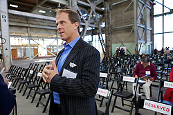 Bill Haney, Co-founder and President of Blu Homes does an interview as they  open their West Coast factory on Mare Island in Vallejo, California Dec. 1, 2011.  Over 400 guests attended a ribbon cutting ceremony at the 250,000-square-foot facility.