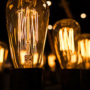Close-up of vintage electrical light bulbs with long filaments.