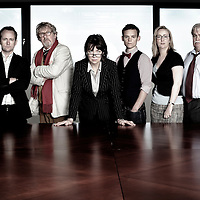 Picture shows :<br /> <br /> Maureen Beattie  (dark hair), John Bett( with glasses), Billy Boyd (dark jacket), James Anthony Pearson ( wearing bow tie), Gabriel Quigley (fair hair), Billy Riddoch (with moustache).<br /> Picture Drew Farrell.<br /> Tel : 07721-735041.<br /> <br /> <br /> NATIONAL THEATRE OF SCOTLAND In partnership with THE LONDON REVIEW OF BOOKS present, 'ENQUIRER'<br /> A new site-specific theatre production.<br /> Based on interviews with leading figures in the newspaper industry in the UK<br /> <br /> Edited and directed by Vicky Featherstone and John Tiffany<br /> Co-edited by Andrew O&rsquo;Hagan<br /> Based on interviews by Paul Flynn, Deborah Orr and Ruth Wishart.<br /> <br /> The cast includes: Maureen Beattie, John Bett, Billy Boyd, James Anthony Pearson and Gabriel Quigley<br /> &nbsp;<br /> The National Theatre of Scotland&rsquo;s ENQUIRER project is a theatrical investigation into the current crisis in newspaper journalism in the UK and is a collaboration between National Theatre of Scotland directors, John Tiffany and Vicky Featherstone, Andrew O&rsquo;Hagan, novelist, playwright, journalist and contributing editor on the London Review of Books and three leading UK journalists, Paul Flynn, Deborah Orr and Ruth Wishart.<br /> &nbsp;<br /> The creative team includes: Davey Anderson as Associate Director, Lizzie Powell as Lighting Designer, Janice Borgos as Costume Designer and Lisa Bertellotti as Design Associate.<br /> &nbsp;<br /> These interviews will be transcribed, edited and structured into a piece of site- specific theatre to be performed in an empty floor of a media office block in Glasgow. The promenade production will explore the recent past, present and future of newspaper journalism in the UK and beyond and will be woven through with fact, anecdote, strong opinion, passion and theatricality.<br /> &nbsp;<br /> In Glasgow from 26 April to 12 May 2012 at 8pm at The Hub at Pacific Quay, Digital Media Quarter with an opening performance on Saturday 28 April at 8pm and in London, in association with the Barbican from 3 October to 20 October 2012 at a venue in East London, to be announced with a