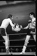 Nash vs Leon Championship Fight.    (N55)..1980..14.12.1980..12.14.1980..14th December 1980..At the Burlington Hotel, Dublin, Charlie Nash defended his European Lightweight Title when he took on Spain's Francesco Leon. .Under the crystal chandolier Leon and Nash trade punches as both try to gain the upper hand.