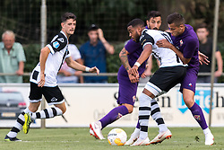 (L-R) Adrian Dalmau of Heracles Almelo, Federico Ceccheniri of ACF Fiorentina, Brandley Kuwas of Heracles Almelo, David Hancko of ACF Fiorentina during the Pre-season Friendly match between Heracles Almelo and Fiorentina at Sportpark Wiesel  on August 01, 2018 in Wenum-Wiesel , The Netherlands