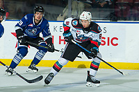 KELOWNA, BC - JANUARY 8:  Trevor Wong #8 of the Kelowna Rockets passes the puck against the Victoria Royals during first period at Prospera Place on January 8, 2020 in Kelowna, Canada. (Photo by Marissa Baecker/Shoot the Breeze)