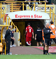 Photo: Mark Stephenson.<br /> Wolverhampton Wanderers v Norwich City. Coca Cola Championship. 22/09/2007.Norwich's Julian Brellier walks down the tunnel after being sent off