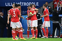 esultanza gol Ashley Williams goal celebration<br /> Lille 01-07-2016 Stade Pierre Mauroy Football Euro2016 Wales - Belgium / Galles - Belgio <br /> Quarter-finals. Foto Matteo Gribaudi/Image Sport/ Insidefoto
