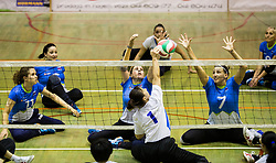 Xiong Lina of China vs Jana Ferjan of Slovenia and Larisa Pirih of Slovenia during friendly Sitting Volleyball match between National teams of Slovenia and China, on October 22, 2017 in Sempeter pri Zalcu, Slovenia. (Photo by Vid Ponikvar / Sportida)