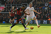 Callum Wilson (13) of AFC Bournemouth shoots at goal with Nemanja Matic (31) of Manchester United closing in on him during the Premier League match between Bournemouth and Manchester United at the Vitality Stadium, Bournemouth, England on 3 November 2018.