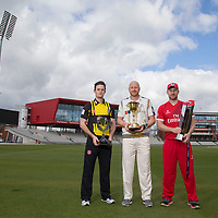 Pictures show Yorkshire's Andrew Gale, Gloucester's Gareth Roderick and Lancashire's Steven Croft pictured at Old Trafford Manchester on 30th March 2016<br /> Pictures by Paul Currie/WRAPP
